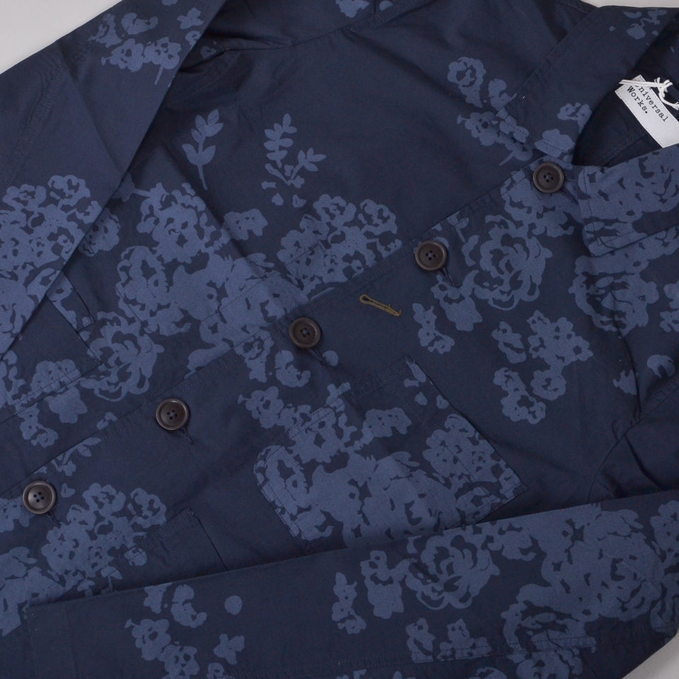 Universal Works Bakers Jacket Flower Print Poplin - Navy