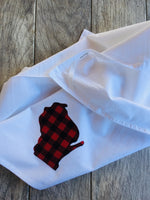 Gray and Red Holiday Fall Plaid Wisconsin Applique l Flour Sack Towel