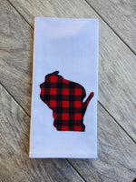 Wisconsin Red and Black Buffalo Plaid Kitchen Towel Tea Towel Flour Sack Towel