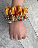 Rust floral and stripe- Scrunchie - hair tie - scrunchies