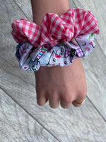 Cat & Pink Gingham Scrunchies