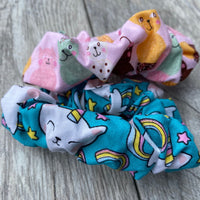 Uni Kitty and Cat ice cream cones- Scrunchie - hair tie - scrunchies