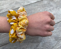 Mustard Floral and Dots - Scrunchie - hair tie - scrunchies