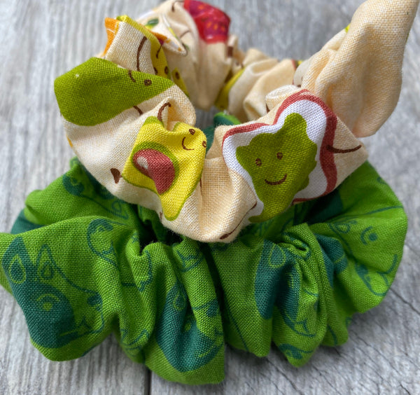 Avocado Toast and Happy Dogs - Scrunchies
