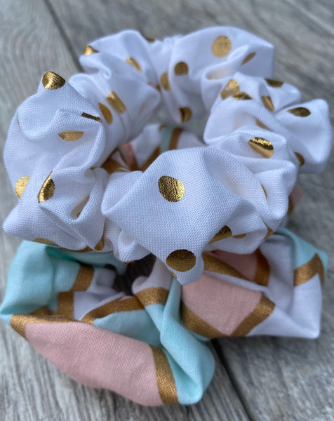 Gold Polka Dots & Rose Gold Geometrics scrunchies