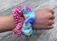 Narwhal - hot pink gingham - Scrunchie - hair tie - scrunchies