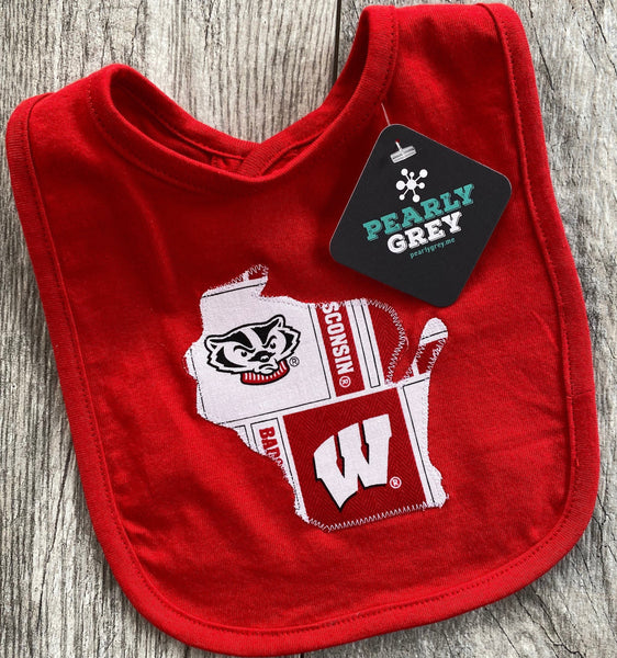 Wisconsin Badgers - Wisconsin - Infant Bib - Baby Bib - Knit Bib - Drool Bib