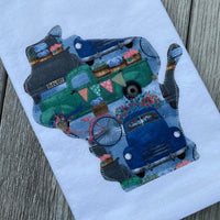 Flowers and a Pick-Up Truck Wisconsin Applique Flour Sack Towel