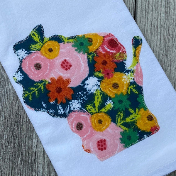 Floral Wisconsin Applique Flour Sack Towel