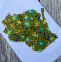 Green retro Kitchen Wisconsin Applique Flour Sack Towel