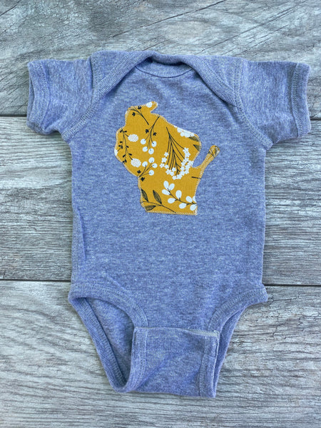Wisconsin Bodysuit Gold Floral 0-18 months Long Sleeves, Short Sleeves, WI State Appliqué, Shower Gift Baby Girl
