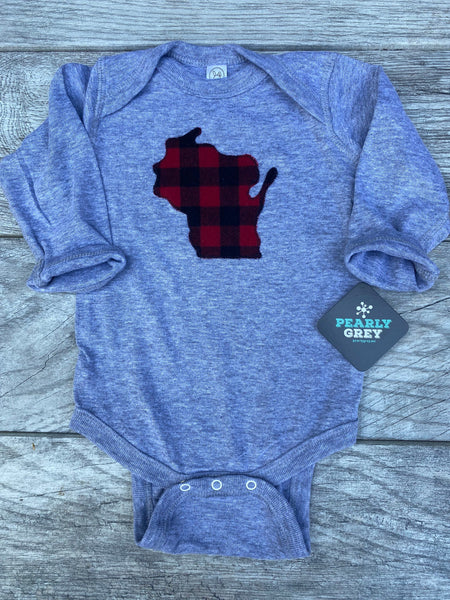 Wisconsin Bodysuit Buffalo Plaid