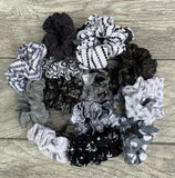 White Grey and Black Scrunchie Mystery Bag, 5 Scrunchies, Hair Ties, 90's Fashion, gift set, birthday gift, christmas gift