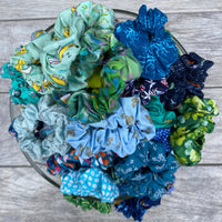 Blue and Green Scrunchie Mystery Bag, 5 Scrunchies