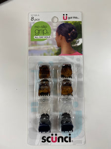 Scunci 8 Pack Hair Jaw Clips Brown/Black/White
