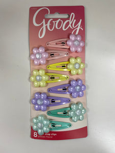 Goody 8 Pack Floral Snap Clips Pastel Colors