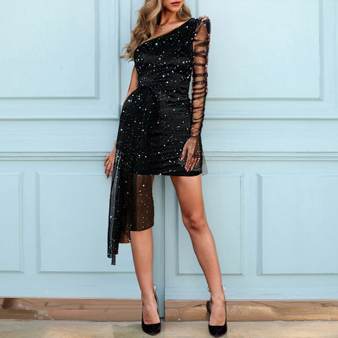 Glitter One Shoulder Sheer Mesh Ruched Long Sleeve Bodycon Dress