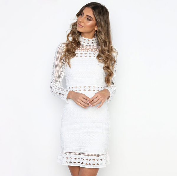 Sexy White Lace Stitching Hollow Out Party Dress