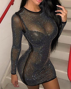 Hot Stamping Round Neck Long Sleeve Mesh Bodycon Dress