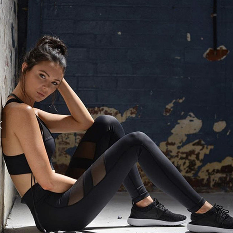 Sheer Mesh Insert Sports Leggings