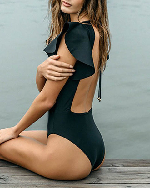 Black Hollow out Backless Swimsuit