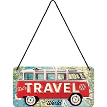 Load image into Gallery viewer, Hanging Tin Sign - VW Bulli - Let's Travel The World