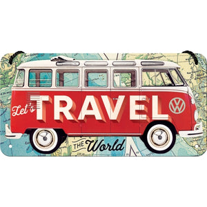 Hanging Tin Sign - VW Bulli - Let's Travel The World