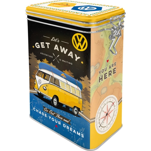 Clip Top Tin box - Let's Get Away!