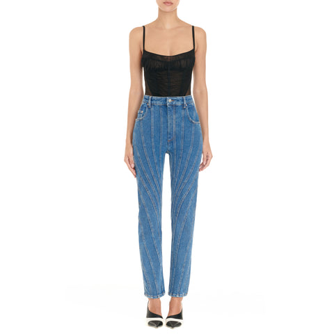 high waisted slim spiral jeans