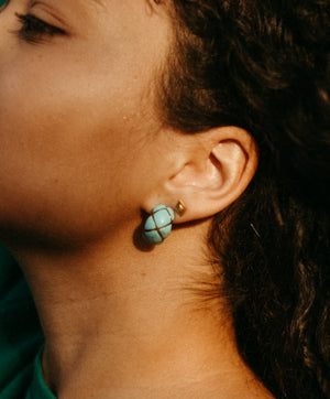 turquoise detailed huggie hoop earrings