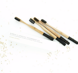 bamboo charcoal toothbrush - set of 4
