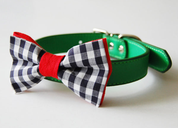 Sweet Picnics Doggie Bow Tie with a grassy green collar! Perfect combo.