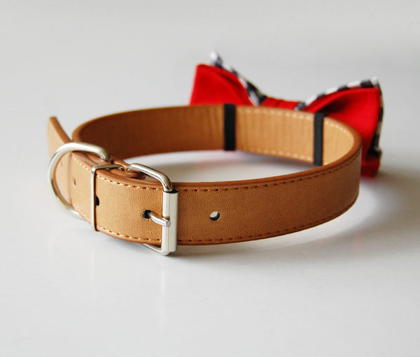 Beautiful synthetic leather collar in caramel tan