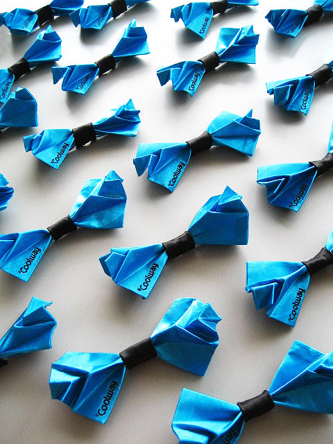 blue custom origami bow ties