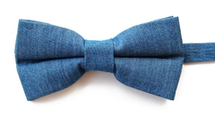 Denim pre-tied bow tie by Knot Theory