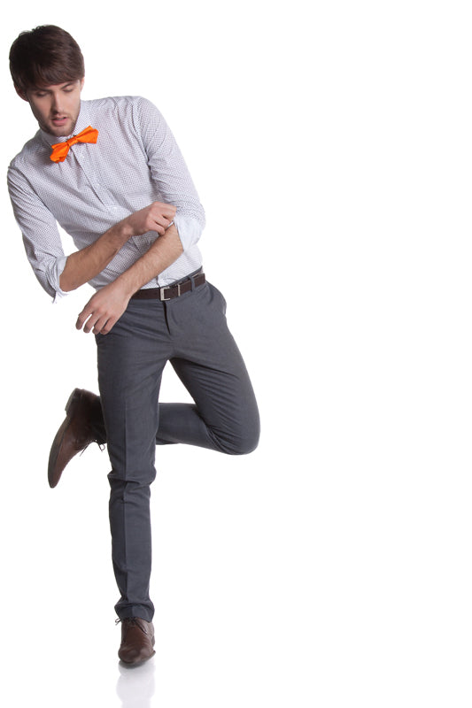 Zak in orange origami bow tie by Knot Theory