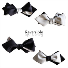 black and white diamond point bow tie