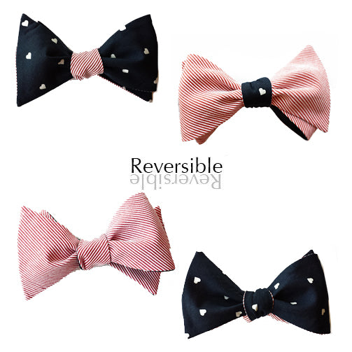 Hearts and pink stripe reversible bow tie
