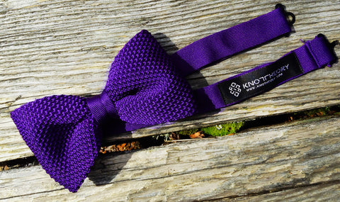 Purple knit bow tie