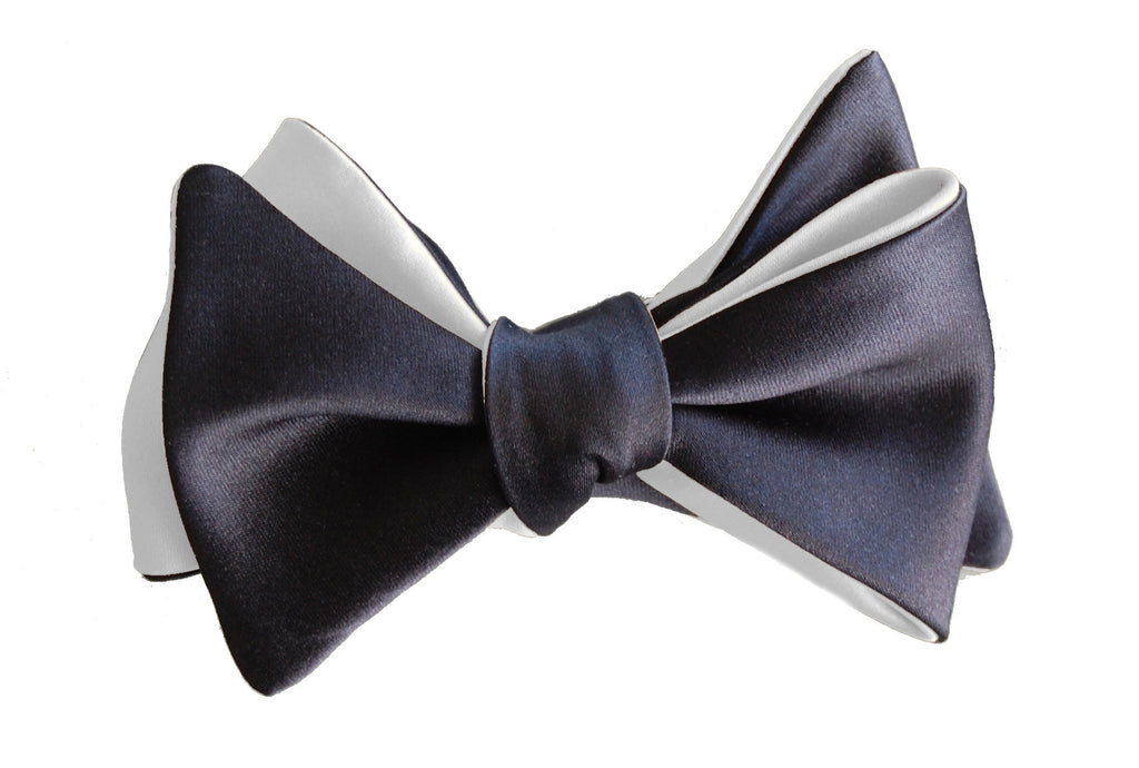 6-Way Tuxedo Black and Pearl White Self-Tie Butterfly bow tie
