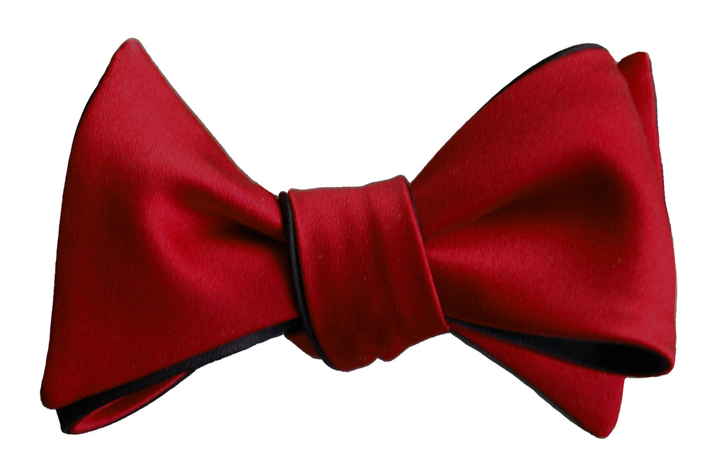 6-Way Rose Red & Black Self Tie bow tie