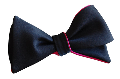 6-Way Black & Fuchsia Hot Pink Butterfly bow tie