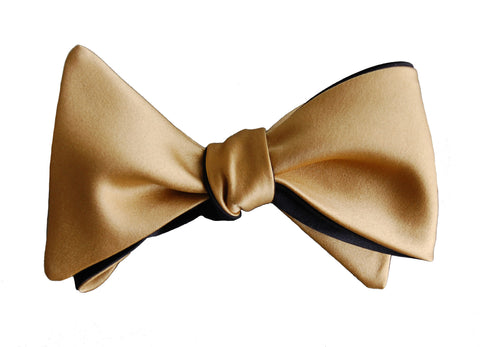 6-Way Champagne Gold & Tuxedo Black Self-tying bow tie