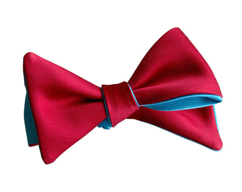 6-Way Rose Red & Aqua Blue Butterfly bow tie
