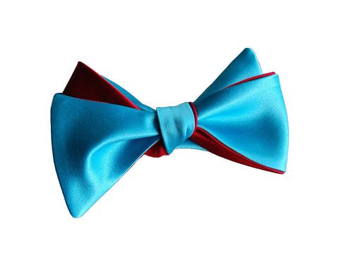 6-Way Aqua Blue & Rose Red Butterfly bow tie