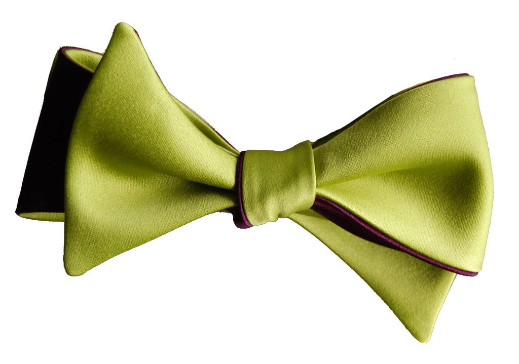 6-Way Citrus Green and Merlot Purple Self-Tie Butterfly bow tie