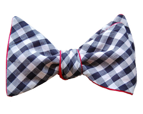 6-Way Blue Gingham and Red Linen self-tie bow tie