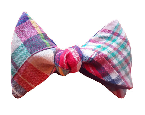 6-Way Pastel Madras and Blue Linen bow tie
