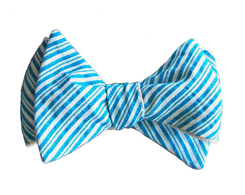 6-way Blue Seersucker and Beige Linen self-tie bow tie