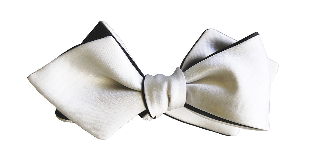 6-Way Pearl White & Tux Black Diamond Point bow tie